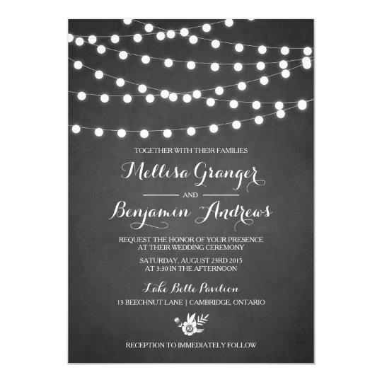 White Fairy Lights Chalkboard Wedding Invitation Zazzle Com