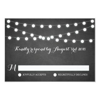 White Fairy Lights Chalkboard Wedding RSVP Card