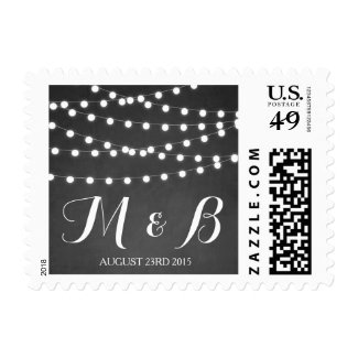 White Fairy Lights Chalkboard Wedding Postage Stamps