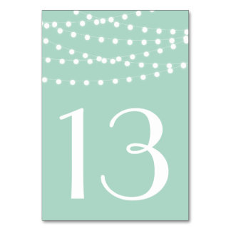 White Fairy Lights | Mint Table Numbers Card