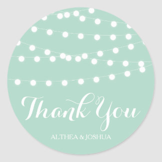 White Fairy Lights | Mint Thank You Stickers