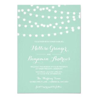 White Fairy Lights | Mint Wedding Invitation
