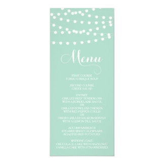 White Fairy Lights | Mint Wedding Menu Card