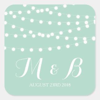 White Fairy Lights | Mint Wedding Monogram Sticker