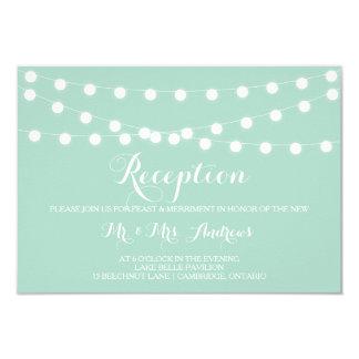 White Fairy Lights | Mint Wedding Reception Card