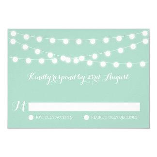 White Fairy Lights | Mint Wedding RSVP Card