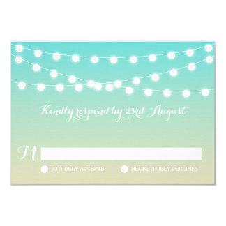 White Fairy Lights | Ombre Beach Wedding RSVP Card