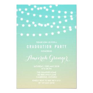 White Fairy Lights | Ombre Graduation Invitation