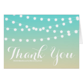 White Fairy Lights   Ombre Wedding Thank You Card