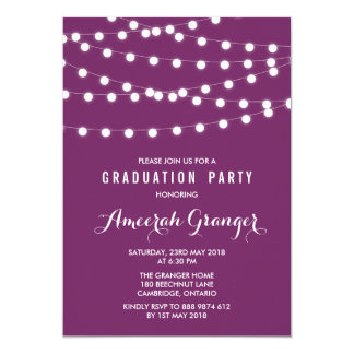 White Fairy Lights   Purple Graduation Invitation