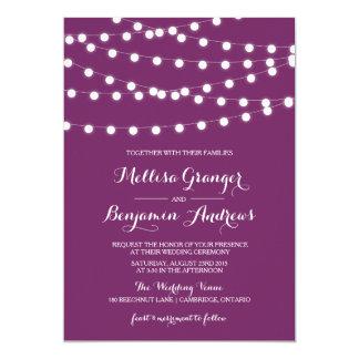 White Fairy Lights | Purple Wedding Invitation