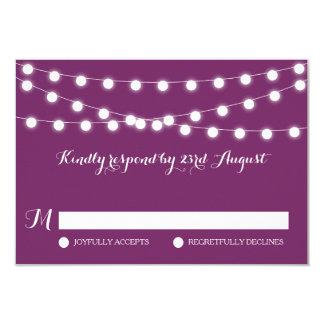 White Fairy Lights | Purple Wedding RSVP Card