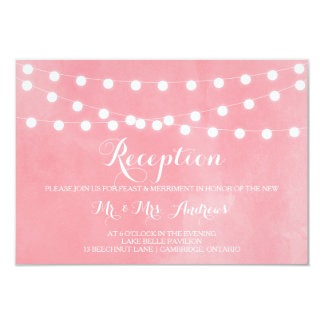 White Fairy Lights Rustic Pink Reception Card