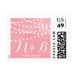 White Fairy Lights Rustic Pink Wedding Stamp