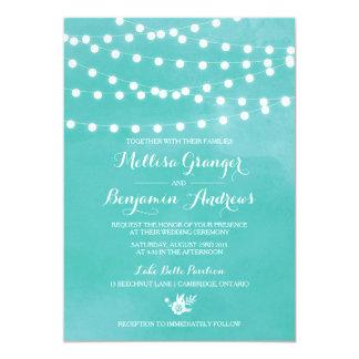 White Fairy Lights Rustic Wedding Invitation