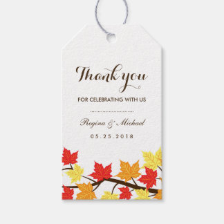 White Fall Maple Leaf Autumn Wedding Gift Tag