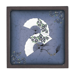 White fans blue blossom jewelry box