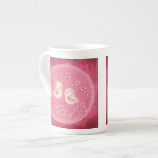 White Fantasy Birds  with Flowers &  Lace Border Tea Cup