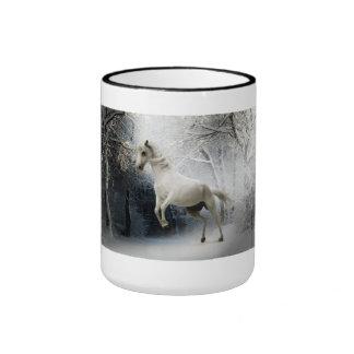 White Fantasy Horse Ringer Coffee Mug