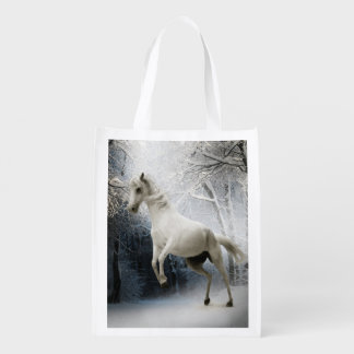 White Fantasy Horse Grocery Bags