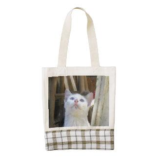 White Farm Cat Blue Eyes Zazzle HEART Tote Bag