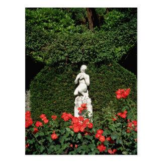 White Faun statue - Italian Garden, Compton Acres, Postcards