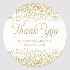 White Faux Gold Glitter Wedding Favor Thank You Classic Round Sticker at Zazzle