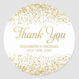 White Faux Gold Glitter Wedding Favor Thank You Clic Round Sticker
