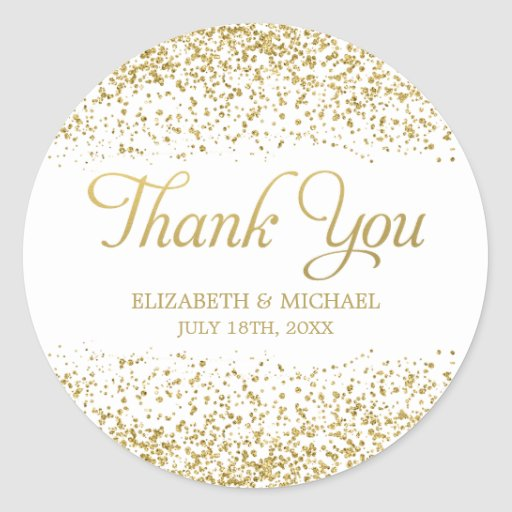 White Faux Gold Glitter Wedding Favor Thank You Classic Round Sticker