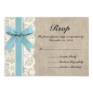 White Faux Lace and Burlap RSVP - Glacier Card
