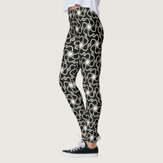 White Faux Metalic Embroidered Pattern Leggings
