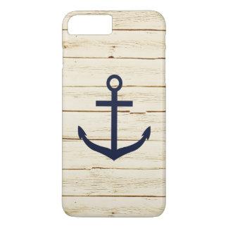 White Faux Wood Blue Anchor iPhone 7 Plus Case