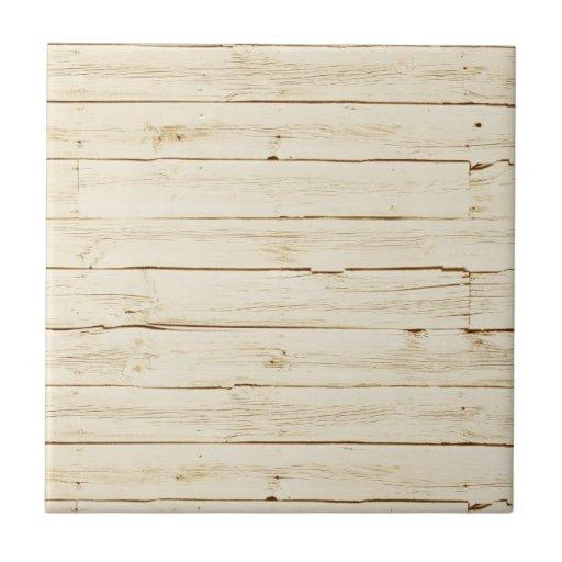 White Faux Wood Ceramic Tile Zazzle