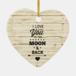 White Faux Wood Double-Sided Heart Ceramic Christmas Ornament