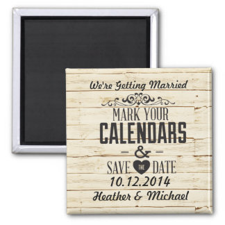 White Faux Wood Save the Date Refrigerator Magnets