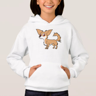 White & Fawn Chihuahua with Long Hair Hoodie
