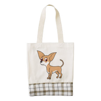 White & Fawn Chihuahua with Short Hair Zazzle HEART Tote Bag