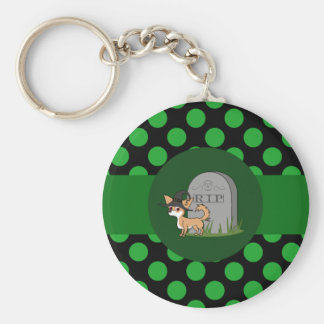 White & Fawn Long Hair Chihuahua with Grave Stone Basic Round Button Keychain