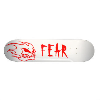 White Fear Skateboard Deck with Red
