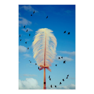 white feather and birds flying poster