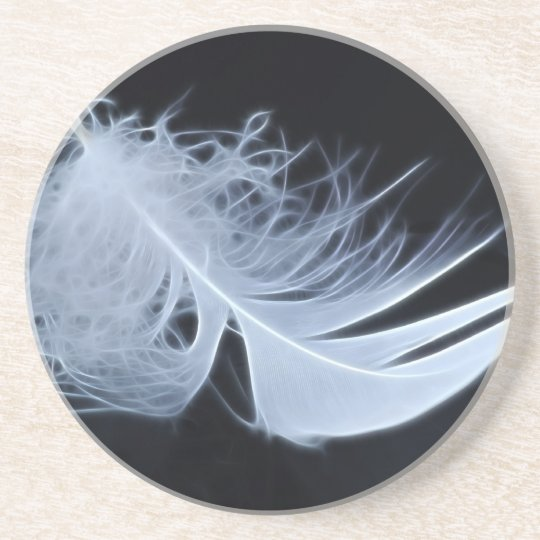 White feather - angelic by nature drink coaster