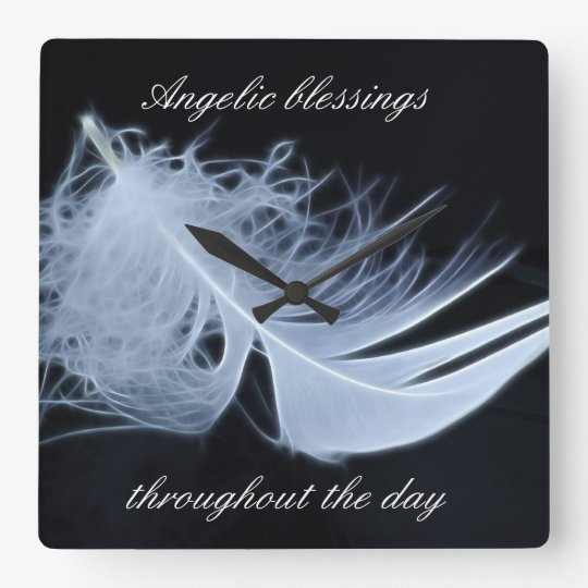 White feather - angelic by nature square wall clock