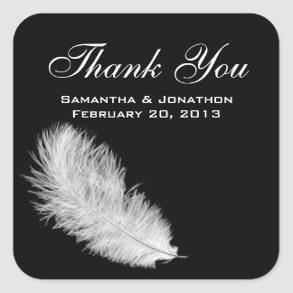 White Feather Black Wedding Favor Labels Square Sticker
