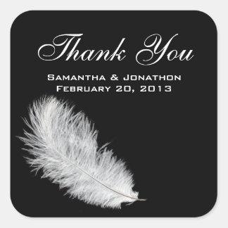 White Feather Black Wedding Favor Labels Sticker