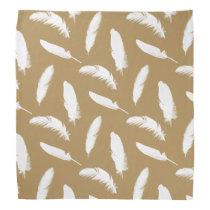 White feather print on camel tan bandana