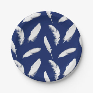 White feather print on dark blue / navy paper plate