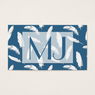 White feather print on denim blue business card