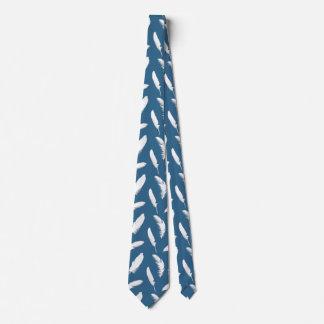 White feather print on denim blue tie