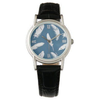 White feather print on denim blue wristwatch