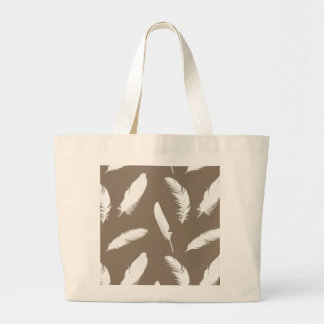 White feather print on taupe large tote bag